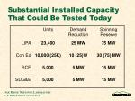substantial installed capacity that could be tested today