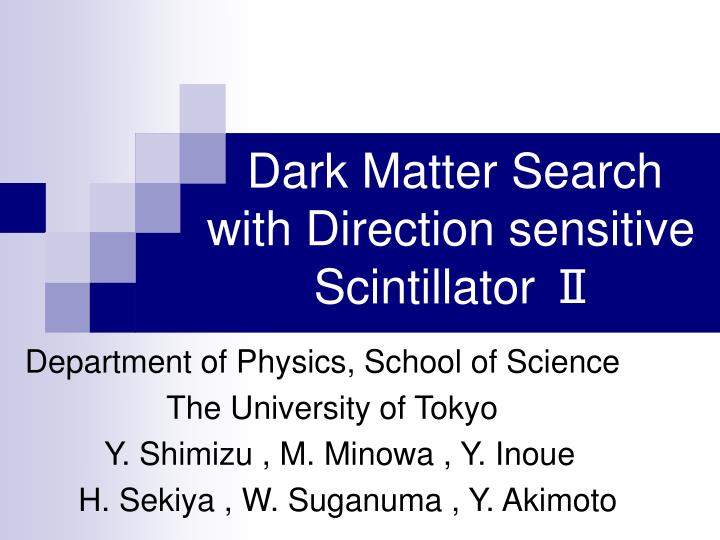 dark matter search with direction sensitive scintillator n.