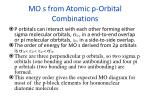 mo s from atomic p orbital combinations