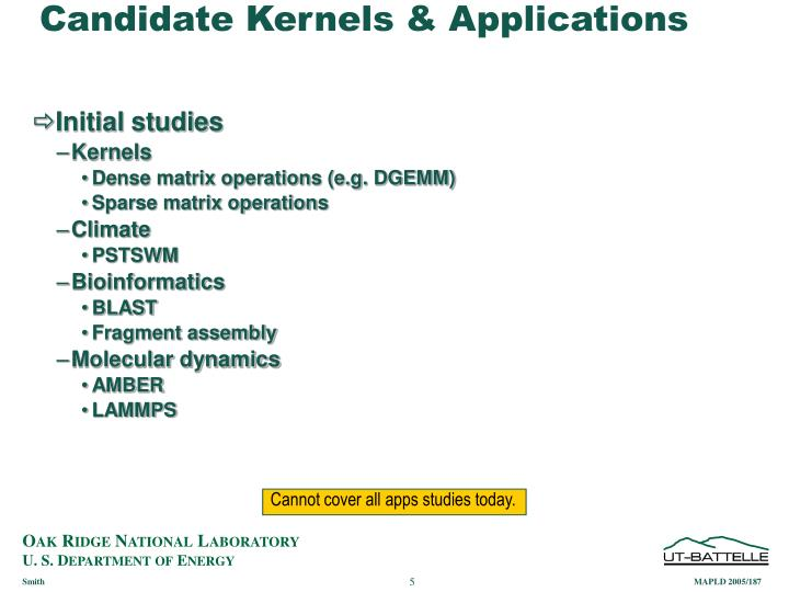 Candidate Kernels & Applications