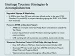 heritage tourism strategies accomplishments