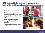 doe national science bowl is a competition for middle and high school students
