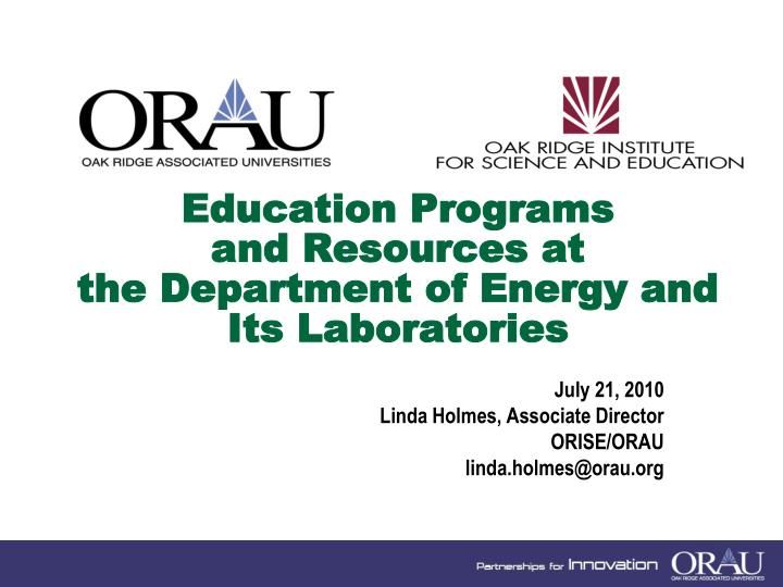 education programs and resources at the department of energy and its laboratories n.