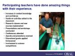 participating teachers have done amazing things with their experience