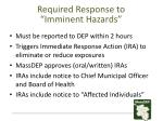 required response to imminent hazards