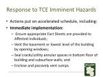 response to tce imminent hazards