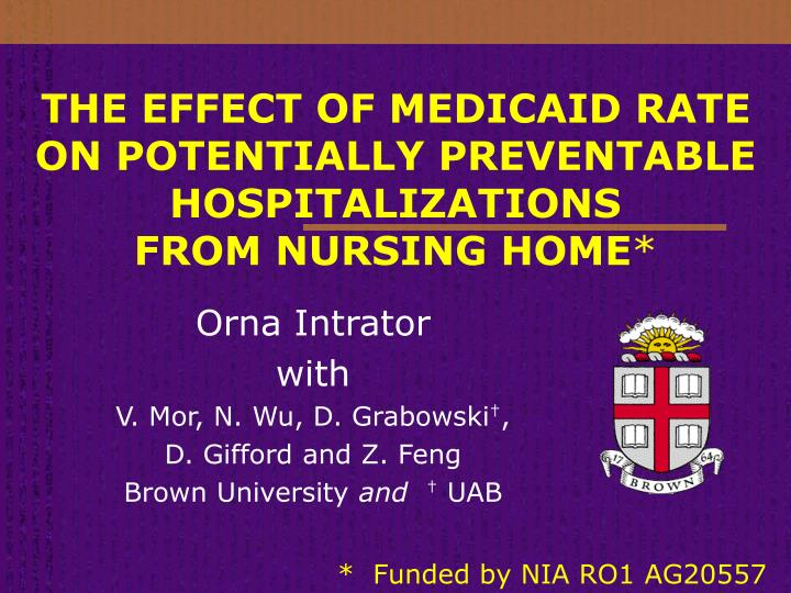 the effect of medicaid rate on potentially preventable hospitalizations from nursing home n.