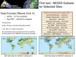 first tool m odis subsets for selected sites