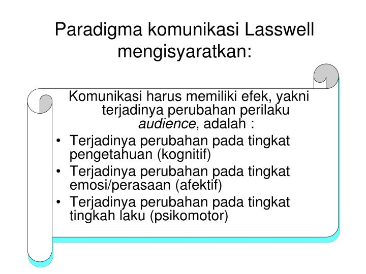Paradigma komunikasi Lasswell mengisyaratkan: