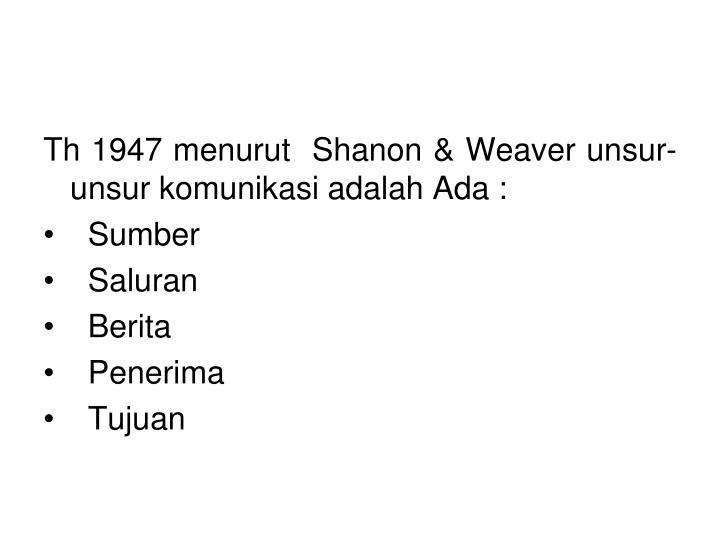 Th 1947 menurut  Shanon & Weaver unsur-unsur komunikasi adalah