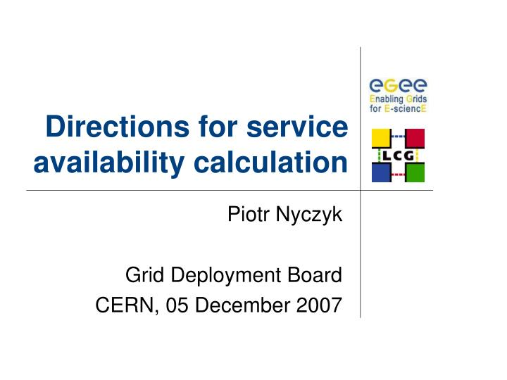 directions for service availability calculation n.
