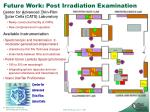 future work post irradiation examination