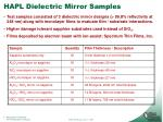 hapl dielectric mirror samples