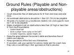 ground rules playable and non playable areas obstructions