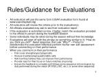 rules guidance for evaluations