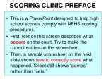 scoring clinic preface