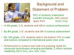 background and statement of problem