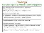 findings how learning design affected student engagement