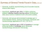 summary of general trends found in data continued