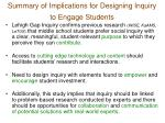 summary of implications for designing inquiry to engage students