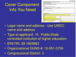 cover component info you need