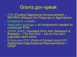 grants gov speak