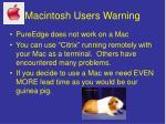 macintosh users warning