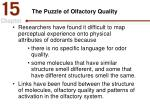 the puzzle of olfactory quality