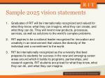 sample 2025 vision statements