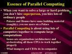 essence of parallel computing