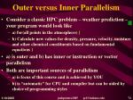 outer versus inner parallelism