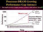 processor dram growing performance gap latency