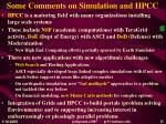some comments on simulation and hpcc