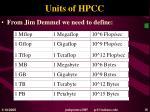units of hpcc
