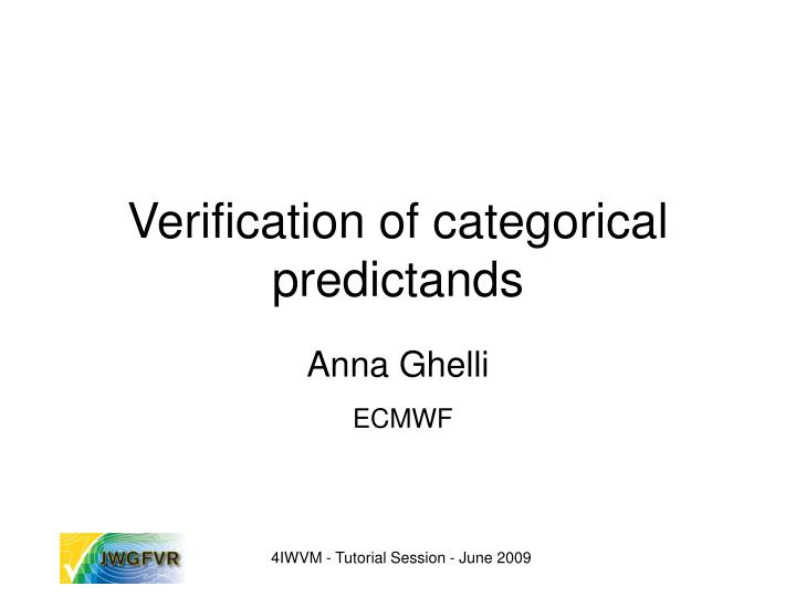 verification of categorical predictands n.