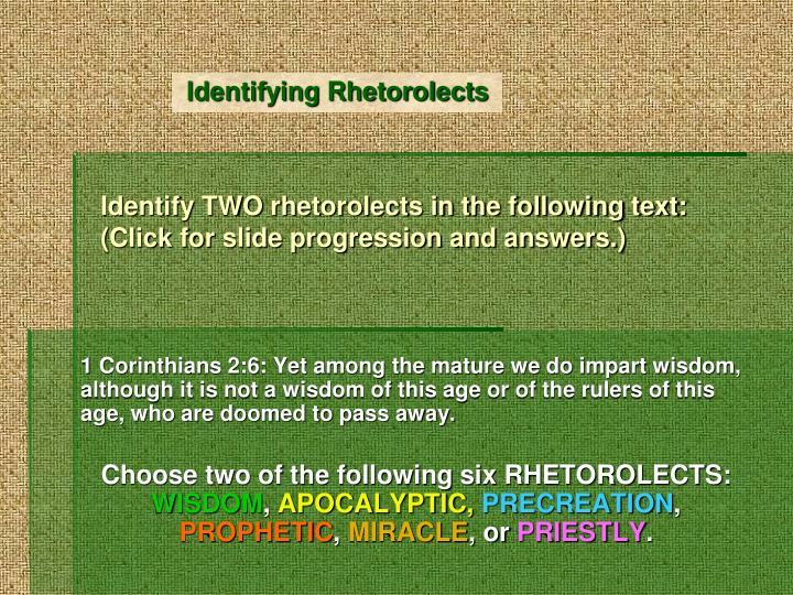 identify two rhetorolects in the following text click for slide progression and answers n.