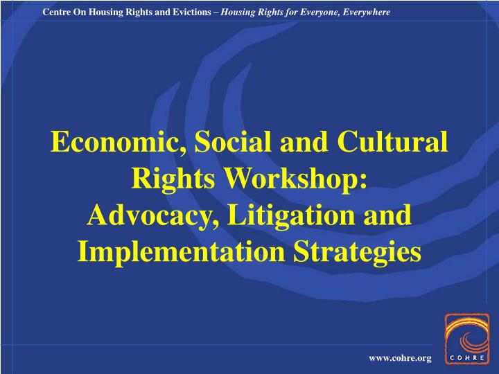 economic social and cultural rights workshop advocacy litigation and implementation strategies n.