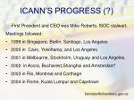 icann s progress