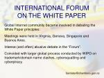 international forum on the white paper
