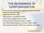 the beginnings of corporatisation