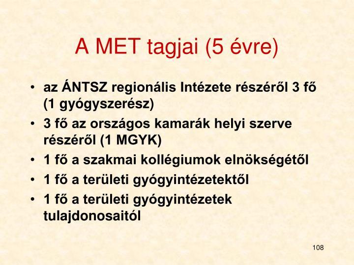 A MET tagjai (5 évre)