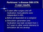 parkinson s disease dbs stn 5 year results krack nejm 2003 349 1925 34