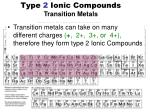 type 2 ionic compounds transition metals