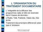 l organisation du traitement documentaire