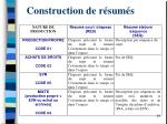 construction de r sum s