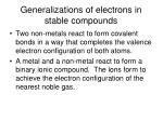 generalizations of electrons in stable compounds