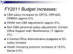 fy2011 budget increases