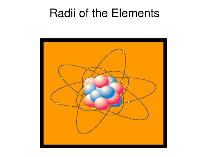 radii of the elements n.