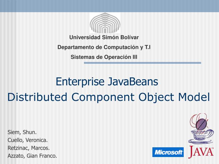 enterprise javabeans distributed component object model n.