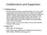 collaborators and supporters